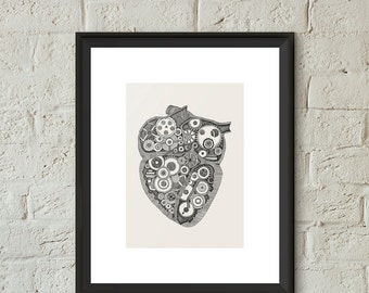 Anatomical Heart Illustration Poster Print Hand Drawn Steampunk Heart Gears Giclee Art Home Dorm Room Office Decor Gift