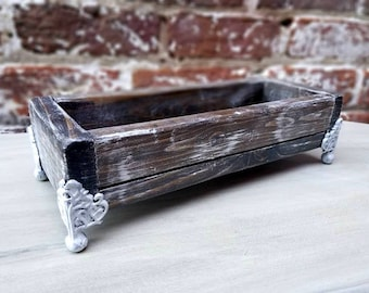 Rustic White Brushed Wooden Decorative Vanity Tray with Ornate Metal Feet