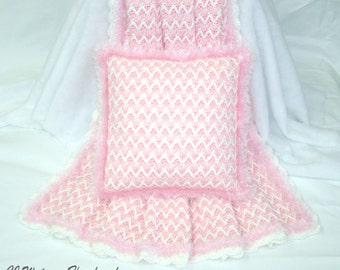 PDF Pattern Crochet Blanket Afghan Cotton Candy Pink and White Blanket and Pillow