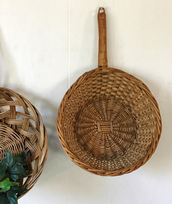 wicker scoop basket - woven brown rattan wall basket - boho farmhouse wall decor