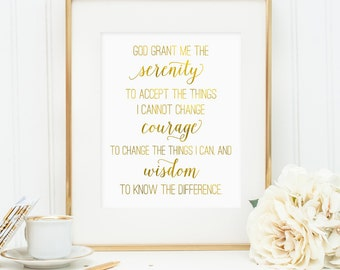 Serenity prayer print, Serenity prayer printable wall art, faux gold foil Serenity prayer, bedroom decor, God grant me serenity -Digital JPG