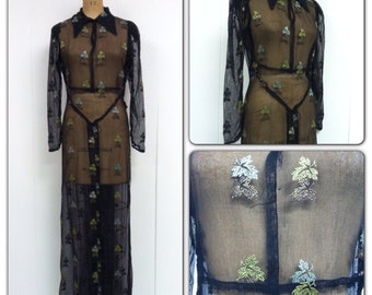 1930s Embroidered Net Gown 30s Leaves