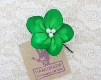 Emerald Green Flower Hair Pin. Emerald Green Flower Hair Piece. Bridesmaid Hair Accessory.