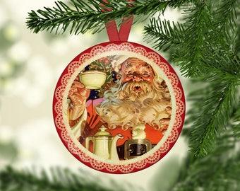 Christmas Ornament Hangers, Santa's, Vintage Santa, Santa Workshop, Set 2 - (0082)