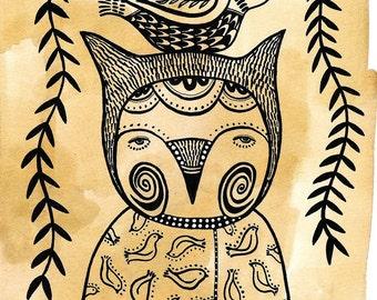 Foxy Owl - Art Print