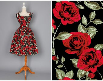 "Gilda Dress Black ""Si Senorita"" Large Red Rose Floral Print"