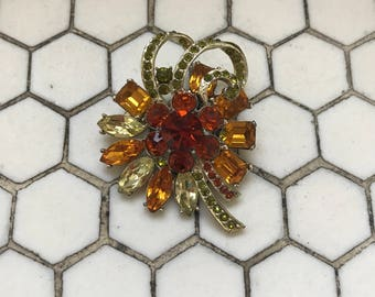 Exquisite Vintage English Signed Jeweled Brooch