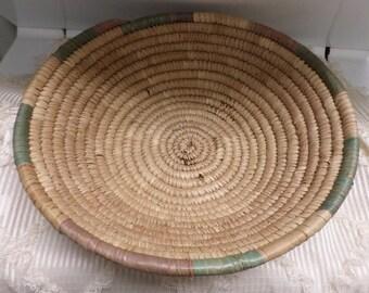Vintage Hand Woven Bowl Coiled Basket Ethnic Papago? South Western Pueblo