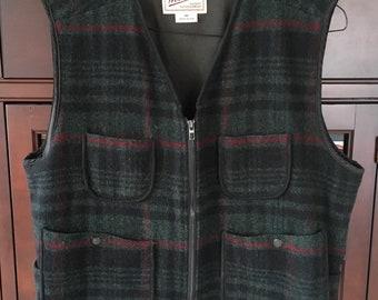 Woolrich Plaid Vest Rugged Outdoor Wear Size XL Dark Loden Green