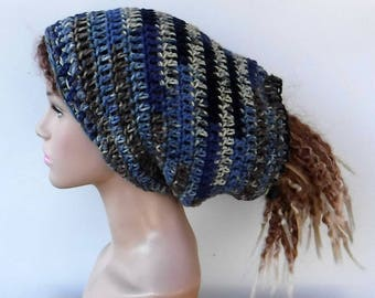 2 in 1 Dread tube or slouchy hat, dreadlocks beanie with open back/denim blue beige tam hat/woman tube hat for dreads/drawstring slouchy hat