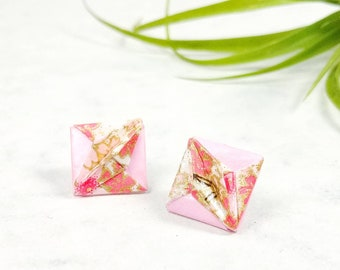 Boucles d'oreilles rose | Bijou en papier  | Boucles d'oreilles minimalistes | Origami par Ökibo