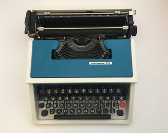 Blue Olivetti Underwood 315 working typewriter - refurbished, oiled, cleaned, ready to type
