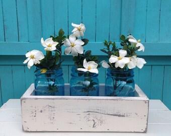 Planter Box - Distressed Wood Box - Wedding Centerpiece - Rustic - Beach - Riser