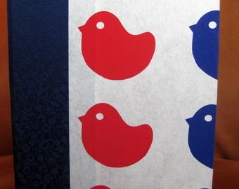 Large Lined Handbound Hardcover Chiyogami Paper Journal Red/Blue Chicks