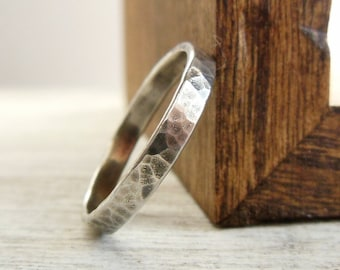 Sterling Silver Ring, Narrow Band, Rustic Hammered - Stacking Rings - Wedding Band