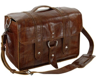 14x6 Italian leather Diaper Bag NEW: 3Y Caramel Color  - Georgetown Style - Handmade in the U.S.A -