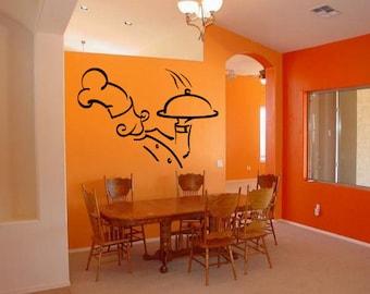 Wall Vinyl Sticker Decals Mural Room Design Pattern Art Cook Dinner Food Kitchen Hat mi831