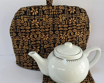 Coffee Beans - Quilted Dome Tea Cozy with Trivet