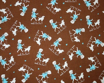 Paris Fabric, Ooh La La by Henry Glass, Polly Goes to Paris Fabric, French Poodle Cotton Fabric for patchwork and crafts