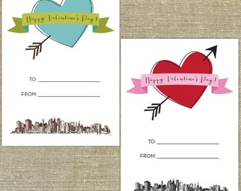 NYC Skyline Valentine's Day Cards Set of 28 cards with Envelopes