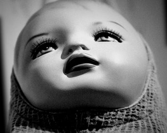 Doll Mannequin Face Fine Art Photography Black & White Sqaure Format Home Decor Unusual