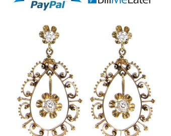 Beautiful Vintage 14kt 14 Karat Yellow Gold Diamond Earrings