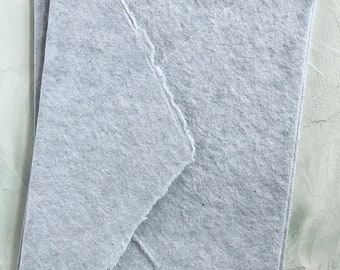 """Gray Color 4.75x6.5 inches (4.75"""" x 6.5"""") Handmade Cotton Paper Deckle Edge Rag Ungummed Invitation Envelope 150gsm 