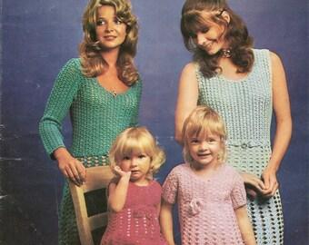 Crochet Pattern Mini Dress Mother & Daughter Short Sleeves DK PDF Instant Download