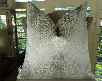 Silver Throw Pillow Cover - Designer Silver Ivory Metallic Pillow - Larry Laslo Silver Throw Pillow - Silver Pillow - Home Decor - 11370