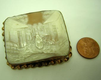 Antique Cameo Brooch Large Square 14KT Gold Frame Italian Village Scene 19th century