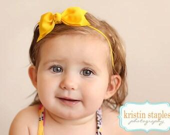 Boutique Yellow Tuxedo Bow Skinny Elastic Headband Infant Hair Bow Yellow Headband Yellow Baby Headband Yellow Infant Headband