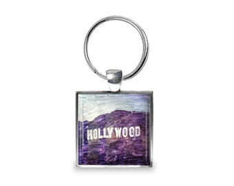 Hollywood sign in Los Angeles  - Glass Photo Keychain - Handmade