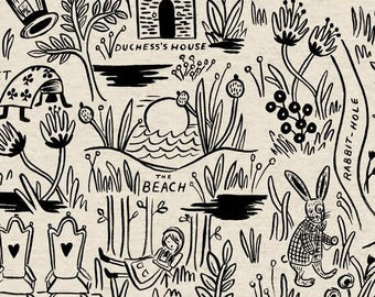 Wonderland Magic Forest Natural CANVAS by Anna Bond for Rifle Paper Company, 1/2 yard