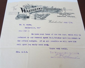 Vintage 1905 Waterloo Manufacturing Company Factory Letterhead Tractor - Farm Implement Ephemera Farming