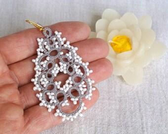 Big tatted drop earrings | statement beaded chandelier earrings | tatted lace jewelry | made in Italy | frivolitè | fiber jewelry