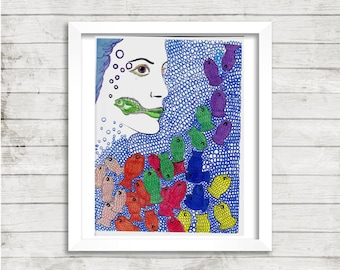 Girl Art, Fish Art, Trippy Psychedelic Drawing, Bubble Art, Mixed Media Drawing, Print