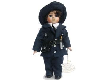 Leonardo Collection Porcelain Doll, Police Woman in Uniform