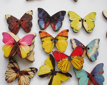 wholesale wood butterfly 2 hole buttons mixed color wood sewing buttons sewing diy craft buttons scrapbooking - Color Butterfly 2