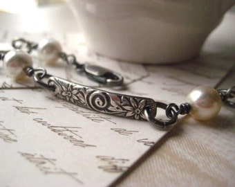pattern bracelet,  sterling silver,  floral bars , Swarovski elements, glass pearls, oxidized sterling, candies64, womens jewelry