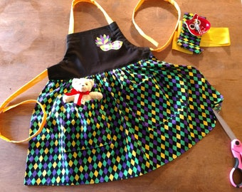 Apron Harlequine, Mardi Gras, Carnival, Festival, Crafting, Cosplay, Girl's Clothing Cover up