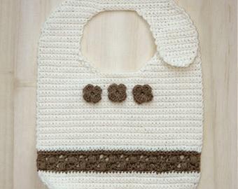 Crochet Pattern - Baby Little Flower Bib Preemie Flower Bib Newborn Flower Bib Crochet Flower Baby Crochet Bib (LFB01-W-PAT)