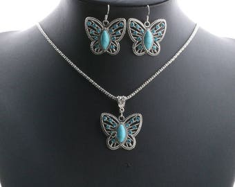 x 1 set necklace/earrings blue silver tone turquoise Butterfly motif