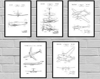 Airplane Patent SET of 5, Aircraft Poster, Airplane Art, Aviation Decor, Airplane Wall Art, Airplane Blueprint, Aviation gifts,Pilot