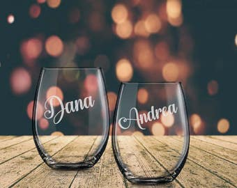 Personalized Wine Glasses, Birthday Wine Glass, Best Friend Gift, Etched Wine Glass, Stemless Glass, Wine Glass with Name, Custom Wine Glass