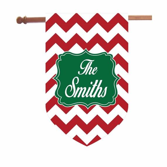 Personalized Christmas Chevron House Flag