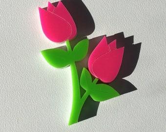 Bright Pink Tulip Brooch