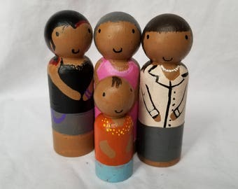 FOUR Peg People - Wooden Doll - Handpainted - Custom - Ungendered - Any Gender - Any Race - Montessori - Waldorf - Sensory - Izzy&Coco