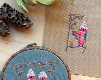 Modern Galah pattern download - includes cross stitch chart and stitching instructions - pretty pink Australian birds