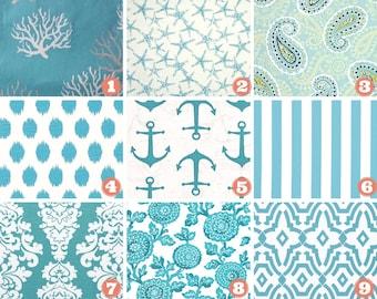 Coastal Blue Table Runner - Blue Wedding Linens - Blue Table Topper - Starfish - Blue Coral -Chevelle -Canopy Stripe - Beach Table