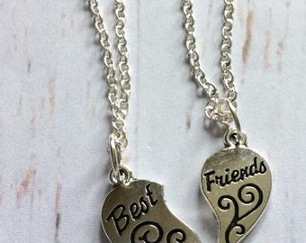 Best friends necklace set, best friends jewelry, best friend necklace set, silver plated best friends necklaces, best friend heart necklace,
